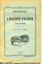 ARCHIVES DE L'INSTITUT PASTEUR D'ALGERIE 1951