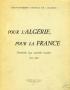 POUR L'ALGERIE, POUR LA FRANCE
